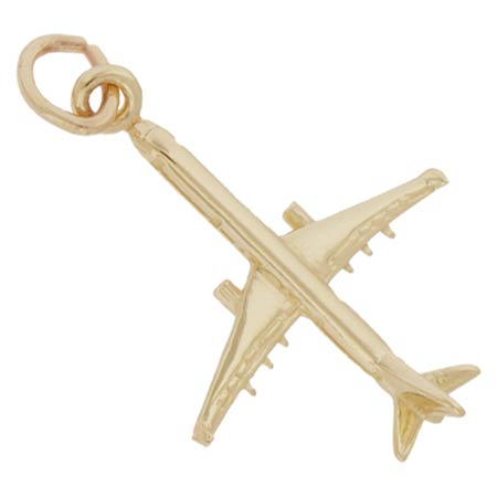 14K Gold Medium Airplane Charm by Rembrandt Charms