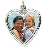 14K White Gold Large Heart PhotoArt® Charm by Rembrandt Charms