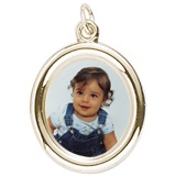 10K Gold Large Oval PhotoArt® Charm by Rembrandt Charms