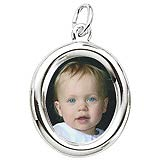 14K White Gold Small Oval PhotoArt® Charm by Rembrandt Charms