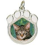 14K White Gold Pet Paw Print PhotoArt® Charm by Rembrandt Charms