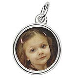 14K White Gold Small Circle PhotoArt® Charm by Rembrandt Charms