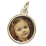 14K Gold Small Circle PhotoArt® Charm by Rembrandt Charms