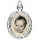 14K White Gold Small Oval Rope PhotoArt® Charm by Rembrandt Charms