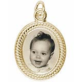 Gold Plated Small Oval Rope PhotoArt® Charm by Rembrandt Charms