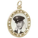 14K Gold Oval Scroll PhotoArt® Charm by Rembrandt Charms