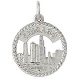 14K White Gold Chicago Skyline Charm by Rembrandt Charms
