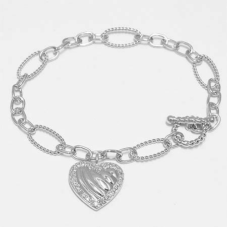 "Sterling Silver Charm Bracelet with Hearts & Diamonds 7 1/2"""