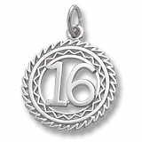 14K White Gold Number 16 Charm by Rembrandt Charms