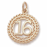 10K Gold Number 16 Charm by Rembrandt Charms