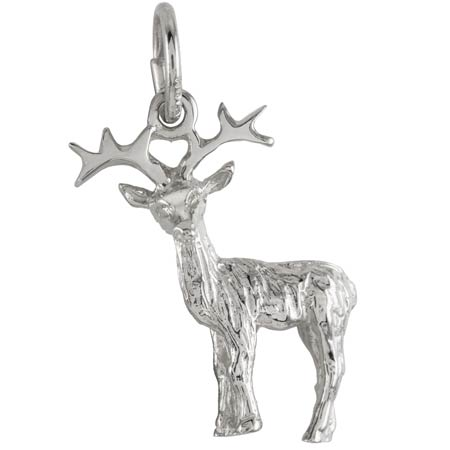 14K White Gold Reindeer Charm by Rembrandt Charms