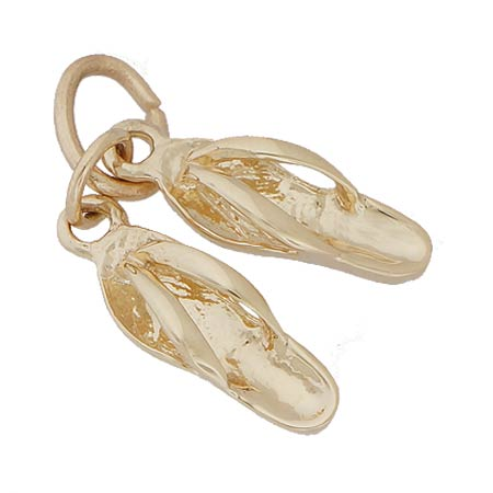 14K Gold Pair of Flip Flops Accent Charm by Rembrandt Charms
