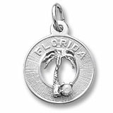 Sterling Silver Florida Palm and Pearl Charm by Rembrandt Charms