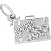 14K White Gold European Travel Suitcase Charm by Rembrandt Charms