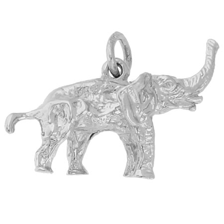 14K White Gold Asian Elephant Charm by Rembrandt Charms