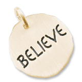 10K Gold Believe Charm Tag by Rembrandt Charms