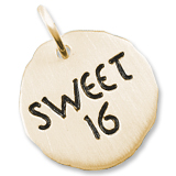Gold Plate Sweet Sixteen Charm Tag by Rembrandt Charms