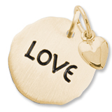 Gold Plate Love Charm Tag with Heart Accent by Rembrandt Charms