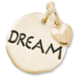 Gold Plate Dream Charm Tag with Heart by Rembrandt Charms