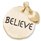 Gold Plate Believe Charm Tag with Heart by Rembrandt Charms