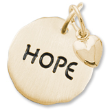 Gold Plate Hope Charm Tag with Heart Accent by Rembrandt Charms