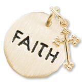 14K Gold Faith Charm Tag with Cross by Rembrandt Charms