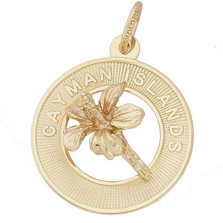 14K Gold Grand Cayman Hibiscus Charm by Rembrandt Charms