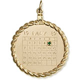 Gold Plate Calendar with Rope Frame Charm by Rembrandt Charms