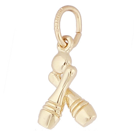 Gold Plate Bowling Accent Charm by Rembrandt Charms