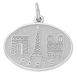14K White Gold Paris France Monuments Charm by Rembrandt Charms