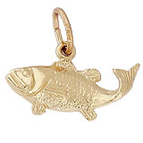 10K Gold Bass Fish Charm by Rembrandt Charms