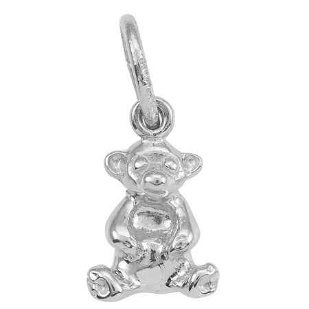 14K White Gold Sitting Bear Accent Charm by Rembrandt Charms
