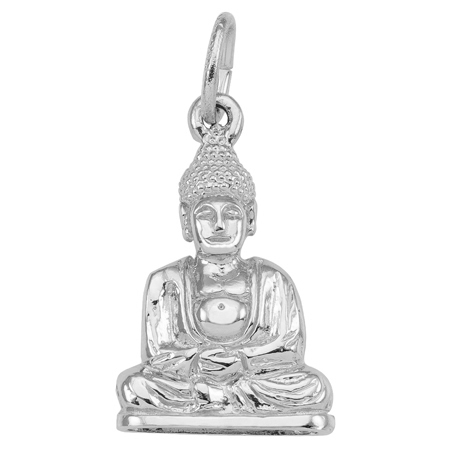 14K White Gold Meditation Buddha Charm by Rembrandt Charms
