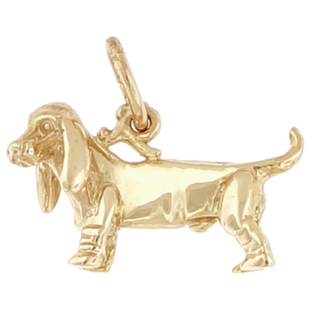 10k Gold Basset Hound Dog Charm by Rembrandt Charms