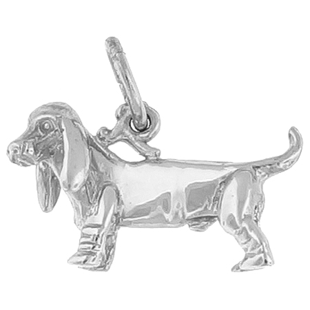 Sterling Silver Basset Hound Dog Charm by Rembrandt Charms