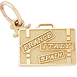 Gold Plated European Travel Suitcase Charm by Rembrandt Charms