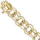 "10K Gold Charm Bracelet Large Double Link 7"""