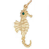 14k Gold Seahorse with Stones Charm by Rembrandt Charms