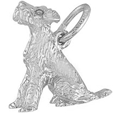 14K White Gold Sitting Terrier Dog Charm by Rembrandt Charms