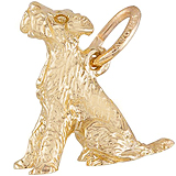 Gold Plate Sitting Terrier Dog Charm by Rembrandt Charms