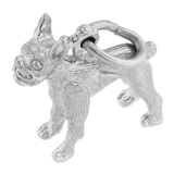 14K White Gold Boston Terrier Charm by Rembrandt Charms