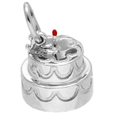 14K White Gold Two-Tier Cake With Candle Charm by Rembrandt Charms