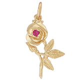 10K Gold Rose with Stone Charm by Rembrandt Charms