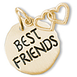 14K Gold Best Friends Charm Tag & Hearts by Rembrandt Charms