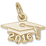 10k Gold Graduation Cap 2016 Charm by Rembrandt Charms