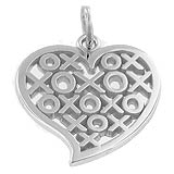 14K White Gold Hugs and Kisses Heart Charm by Rembrandt Charms