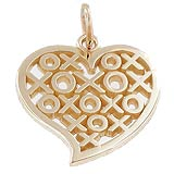 10K Gold Hugs and Kisses Heart Charm by Rembrandt Charms