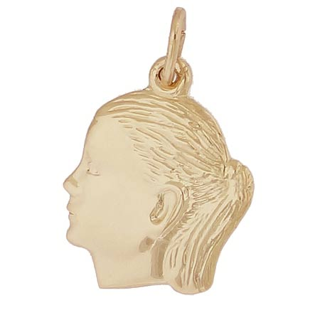 14k Gold Girl's Head Charm by Rembrandt Charms