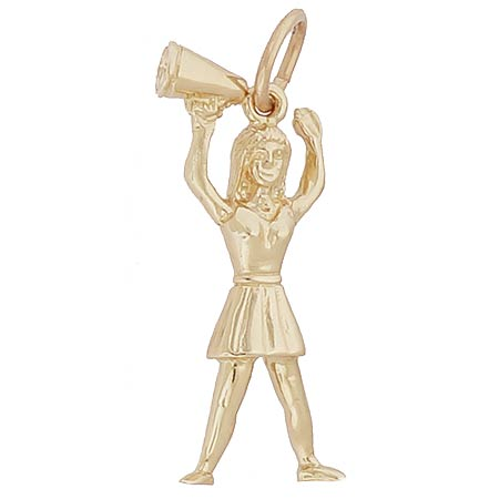 14k Gold Cheerleader with Megaphone Charm by Rembrandt Charms