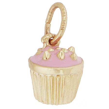 14k Gold Pink Cupcake Sprinkles Charm by Rembrandt Charms